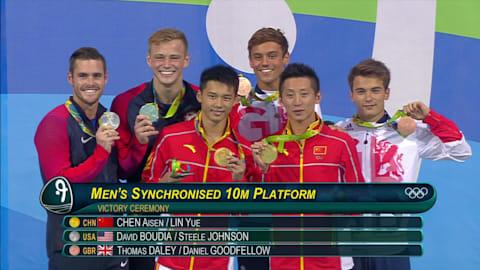 La pareja china gana los clavados sincronizados desde 10 metros