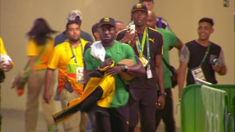 Selfie moment for Bolt and Farah