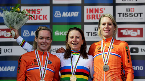 Dutch sweep podium as Annemiek van Vleuten retains time trial world title