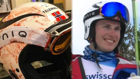 Telemark champ shows why you always wear a helmet