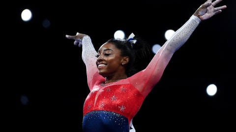 Simone Biles becomes most medalled woman at gymnastics worlds