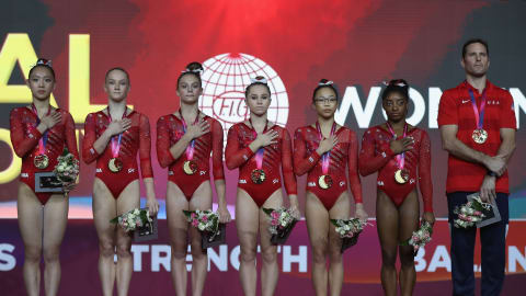 Biles, U.S. women dance to team gold at gymnastics Worlds