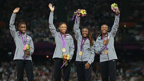 미국, 런던 2012에서 4X100M 여자 기록 경신
