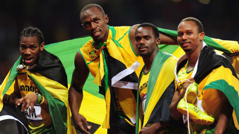 London 2012 - Jamaica win the 4x100m relay men and break the world record