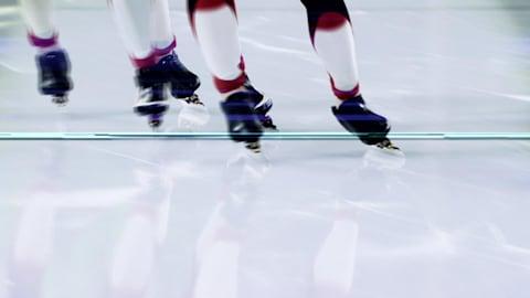 Pushing through that speed skating team pursuit