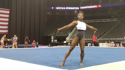 Biles gives sneak peek of floor routine at U.S. Nationals