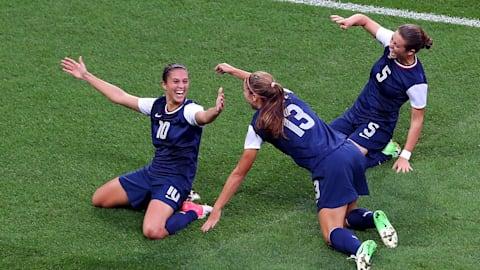 미국 여자축구, 3회 연속 금메달