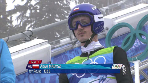 Adam Małysz in the ski jumping normal hill event in Vancouver 2010