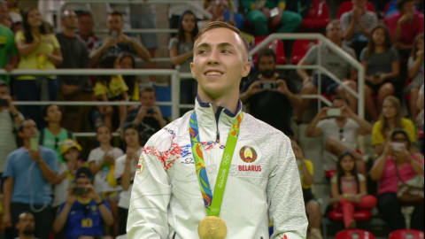 Hancharou wins gold in Men's Trampoline