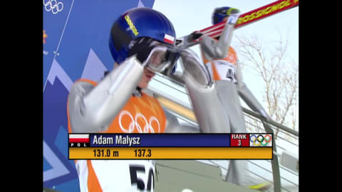 Adam Małysz in the ski jumping large hill event in Salt Lake City 2002