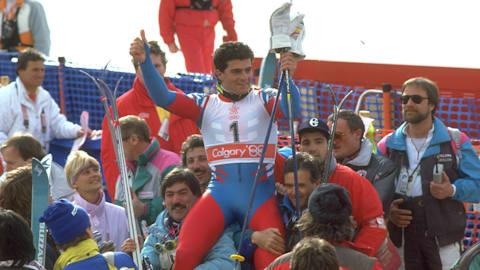 Alberto Tomba's gold medal giant slalom run | Calgary 1988