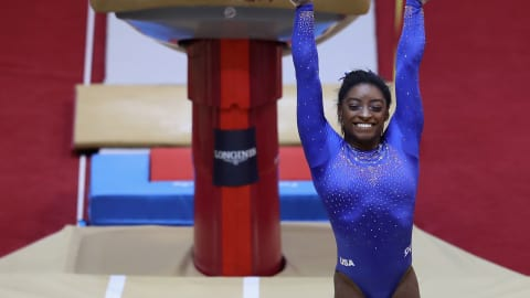 Simone Biles rockets to top of Worlds leaderboard despite hospital drama