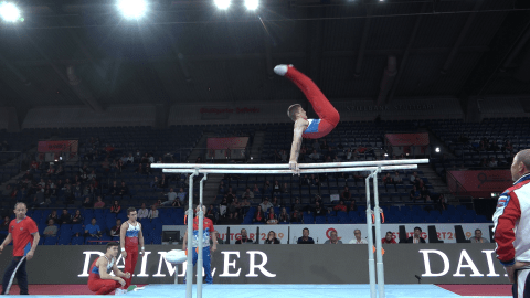 Watch: Russia on parallel bars in podium training