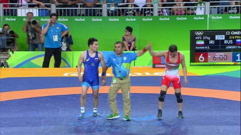 ラヒミ(イラン)o6-1 レベデフ(ロシア)男子フリースタイル57kg級準々決勝