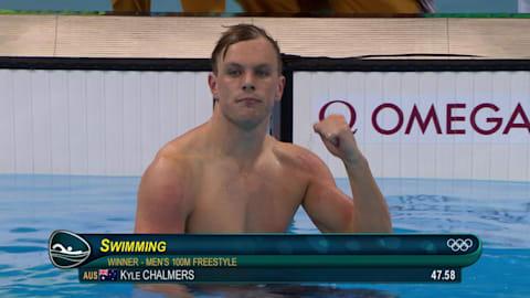 豪代表チャルマースが男子100m自由形で金メダルを獲得