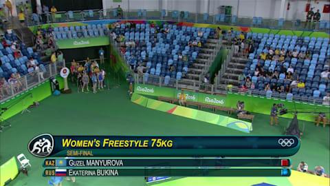 Guzel MANYUROVA (KAZ) besiegt Ekaterina BUKINA (RUS) durch Schultersieg 6-8