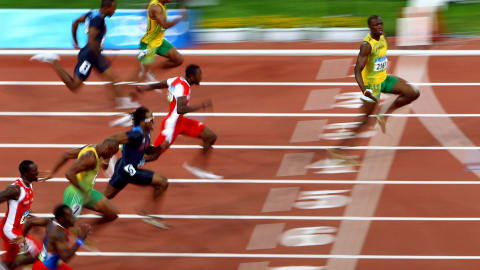 Beijing 2008 - Bolt wins the 100m final and breaks the world record