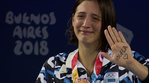 Atleta argentina llora por su abuela