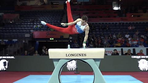 Watch David Belyavskiy on pommel horse in podium training