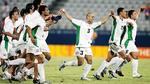 Iraks Fußballer sorgen 2004 in Athen gegen Portugal für eine Sensation