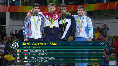 Ramonov wins the gold ins the Men's Freestyle 65kg