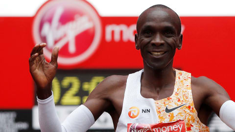 Eliud Kipchoge wins London Marathon in record time as fellow Kenyan Brigid Kosgei takes women's race