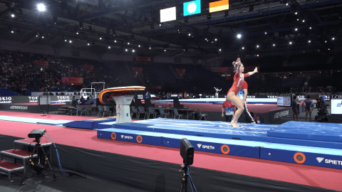 Olympic silver medallist Maria Paseka vaults in podium training at Worlds