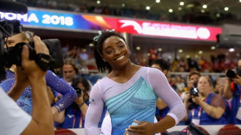 Simone Biles secures record fourth world all-around crown