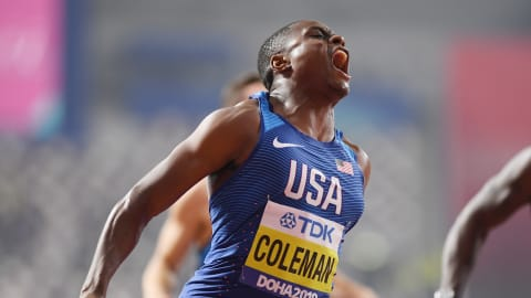 Christian Coleman scorches to 100m world title in Doha