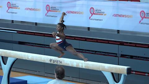HIGHLIGHTS: Simone Biles trains in Stuttgart ahead of the World Championships
