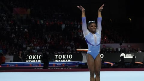 Simone Biles stamps her name in gymnastics history again