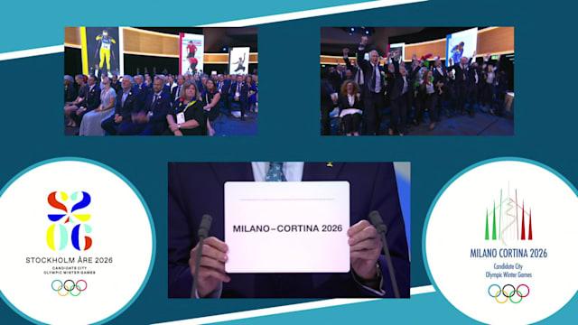 2026 동계 올림픽 개최지 밀라노-코르티나 담페초 선정 순간
