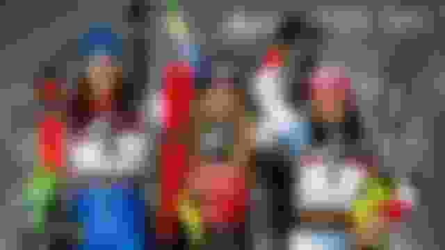 Zagreb slalom podium (L-R): runner-up Petra Vlhova, Mikaela Shiffrin, third-placed Wendy Holdener