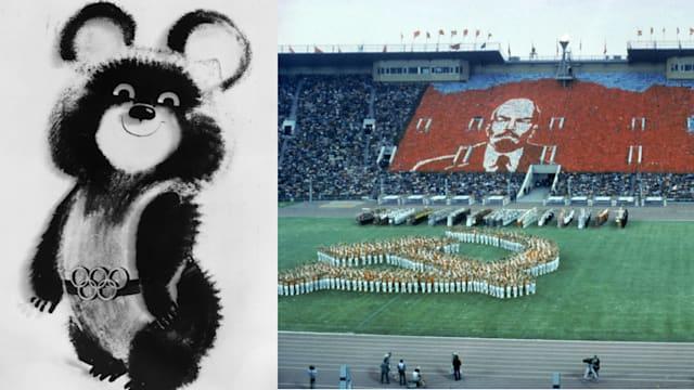 ソビエト連邦の象徴である熊をモチーフにした「ミーシャ」(左)。右はモスクワ五輪の開会式の模様