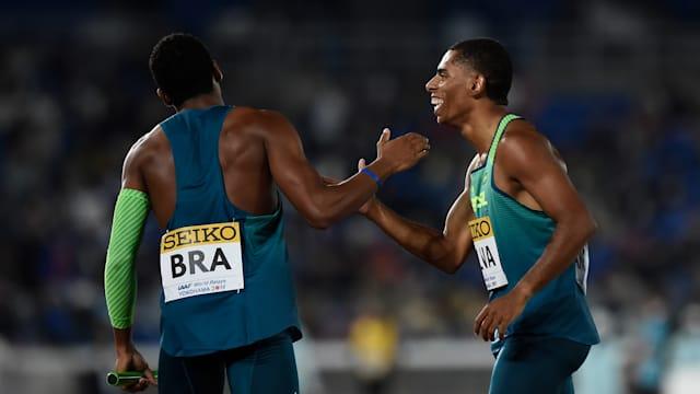 Derick Silva and Paulo Andre Camilo De Oliveira of Brazil celebrate victory.
