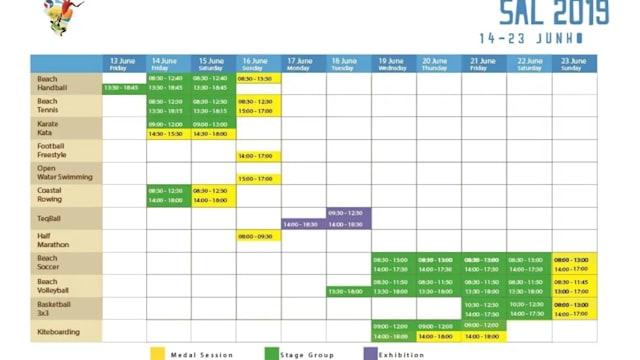 Sal 2019 African beach games schedule