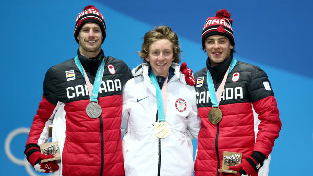 PyeongChang 2018 slopestyle podium (L-R): silver medallist Max Parrot, gold medallist Red Gerard, bronze medallist Mark McMorris