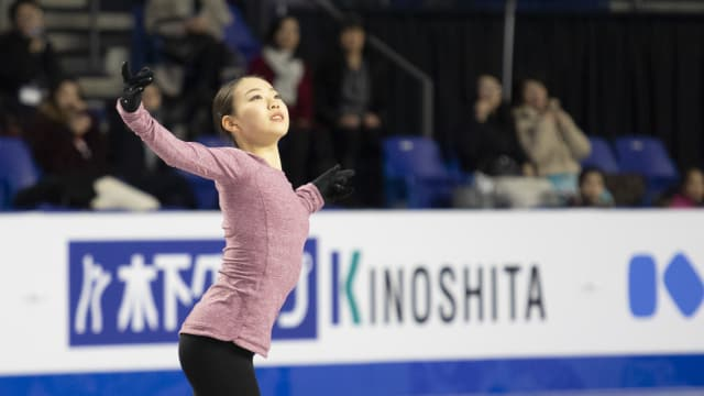 Rika Kihira during practice at the Grand Prix Final in Vancouver