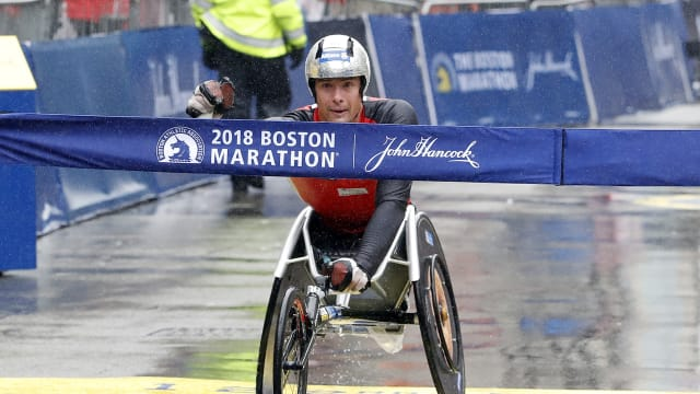 Marcel Hug wins a fourth straight Boston Marathon men's wheelchair race in 2018 - photo by Winslow Townson, USA TODAY Sports