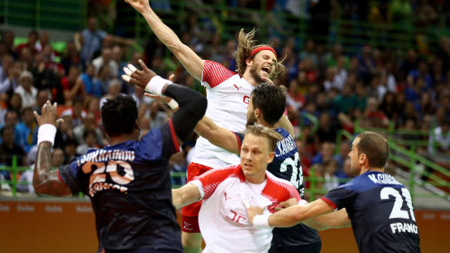 Mikkel Hansen shooting in the Rio 2016 final against France