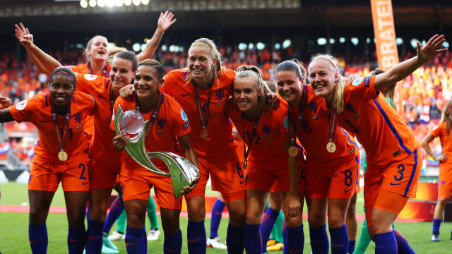The Netherlands celebrate beating Denmark 4-2 in the final of Women's Euro 2017 in Enschede