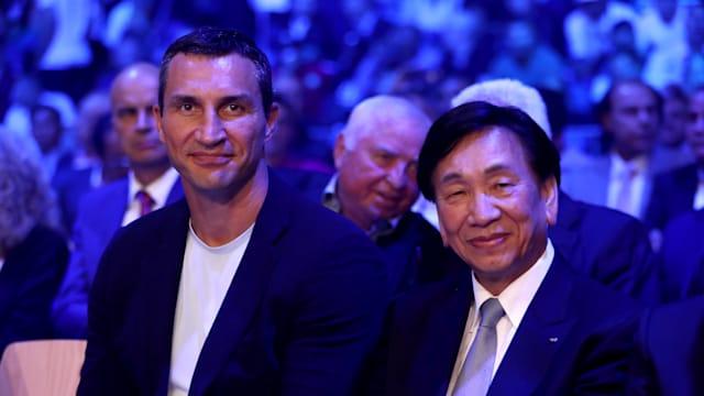 Olympic champion Wladimir Klitschko and former AIBA President CK Wu in September 2017
