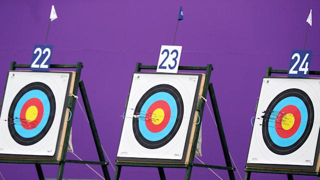 Arrows embedded on Archery Target Boards
