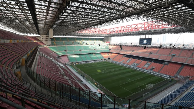 An internal view of the Stadio Giuseppe Meazza (San Siro) in Milan, proposed site of the 2026 Opening Ceremony. (Photo by Emilio Andreoli/Getty Images)