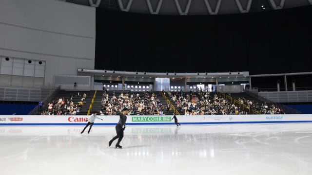 Nathan Chen, Vincent Zhou and Lukas Britschgi during practice at the World Figure Skating Championships