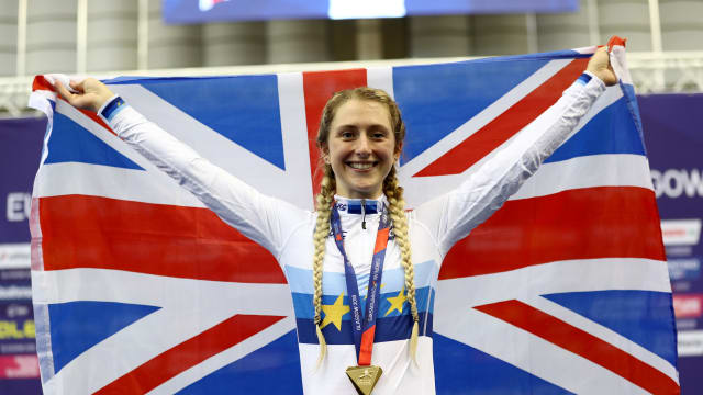 Laura Kenny celebrates after winning the Elimination Race at the European Championships in Glasgow