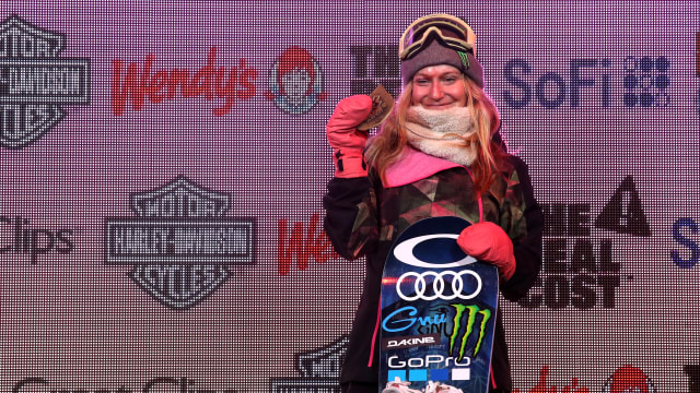 Jamie Anderson on the podium at the winter X Games in Aspen