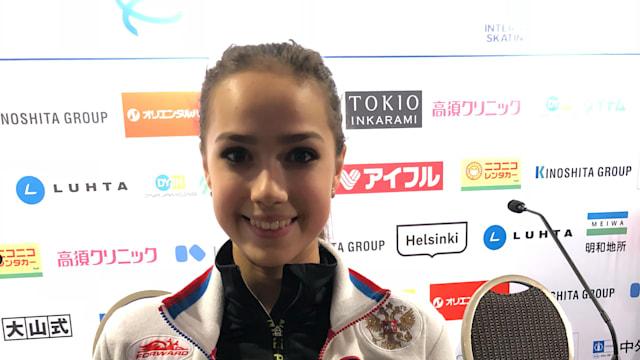 Alina Zagitova poses for a picture at GP Helsinki 2018