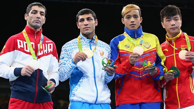 リオ五輪52kg級ではウズベキスタン(左から2番目)が金、ロシア(左)が銀など、ロシア勢が大会を席巻した