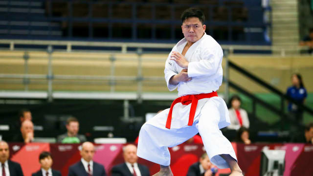 Athlete performing kata during the READY STEADY TOKYO - Karate Test Event